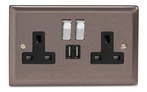 Varilight XR5U2SDB Classic Pewter 2 Gang Double 13A Switched Plug Socket 2.1A USB
